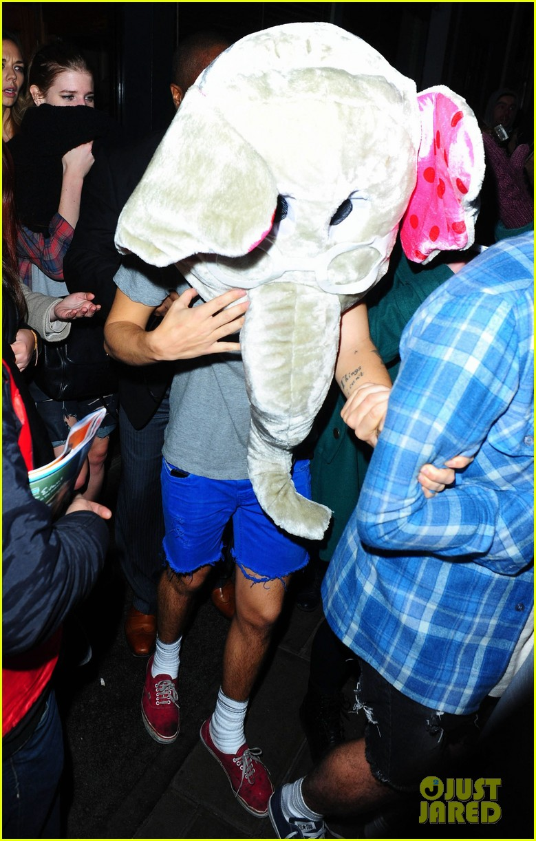 harry styles wears blonde wig elephant head at nightclub 013002894