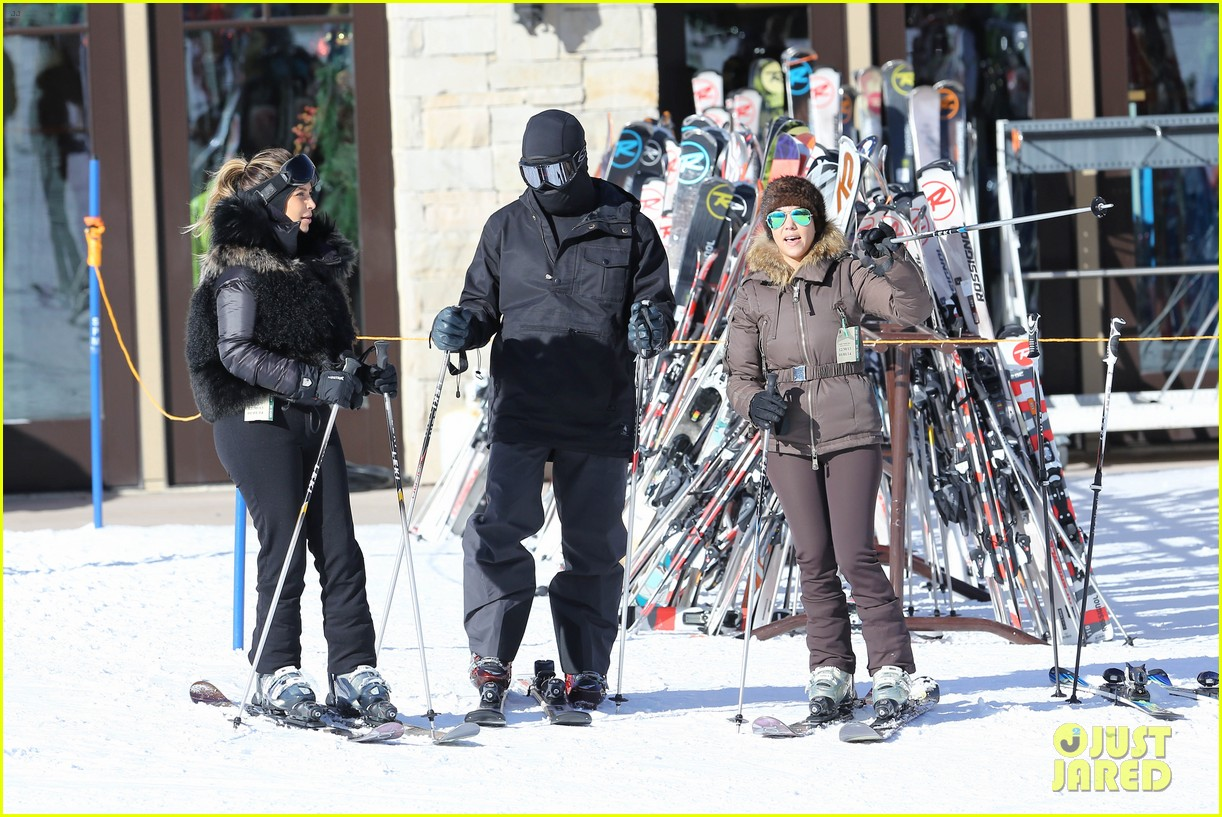 kanye west wears full face mask for skiing with kim kardashian 123019960