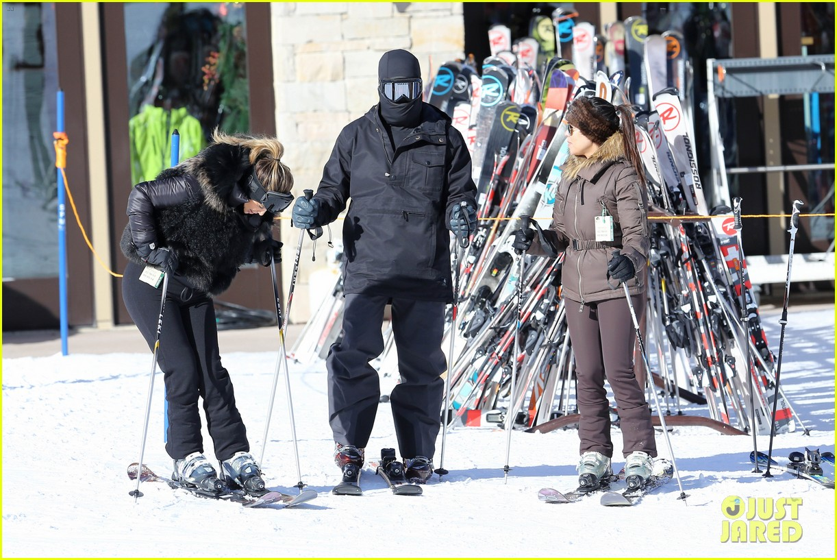 kanye west wears full face mask for skiing with kim kardashian 20