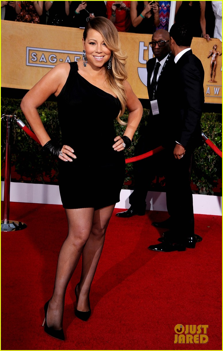 mariah carey sag awards 2014 red carpet with nick cannon 03