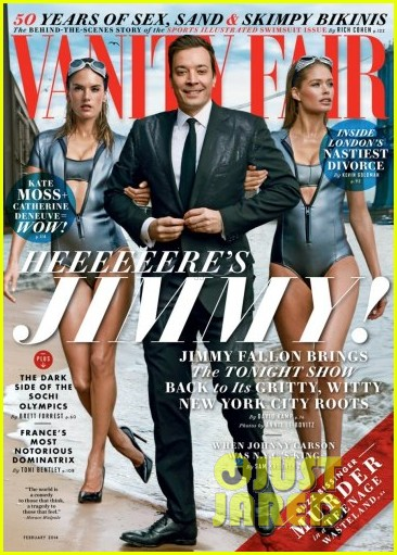 jimmy fallon walks with alessandra ambrosio doutzen kroes for vanity fair 013024451