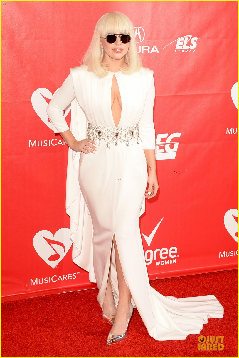 lady gaga white cut out dress at musicares gala 2014 113039706