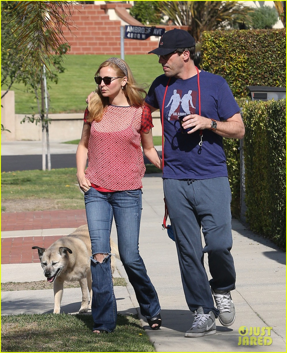 jon hamm stays comfy in sweatpants for morning dog walk 103038628