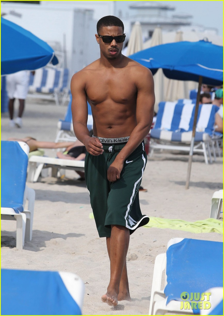 michael b jordan shirtless beach stroll with mystery girl 093040214