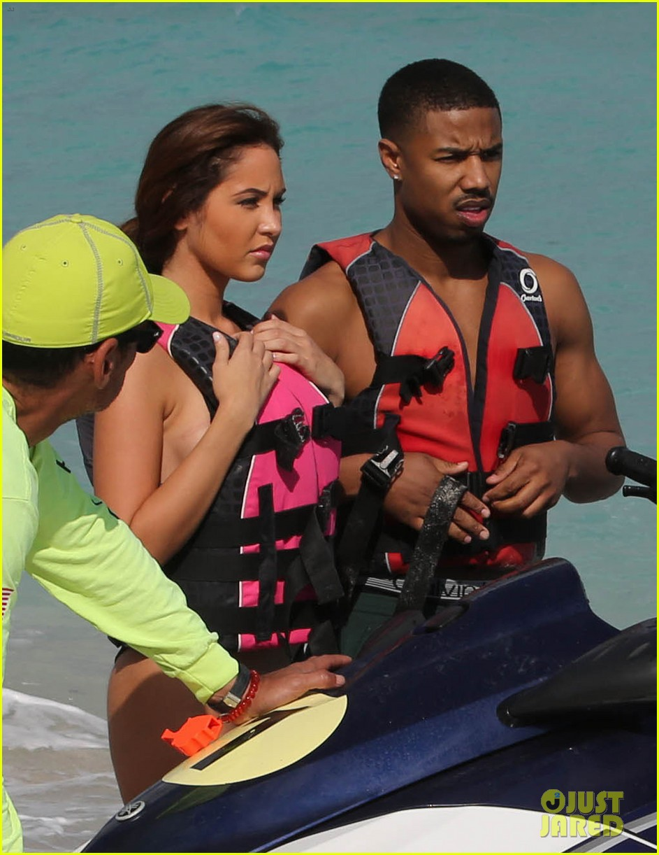 michael b jordan shirtless beach stroll with mystery girl 14