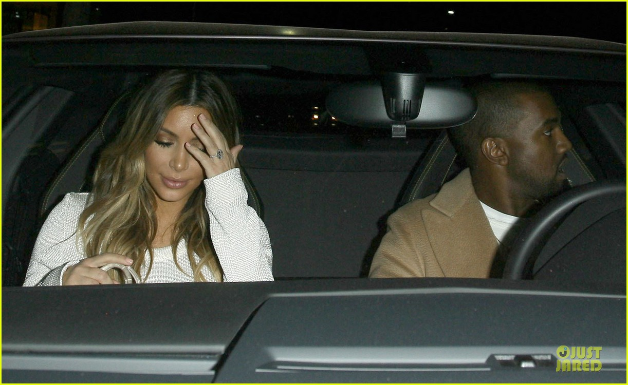 kim kardashian bares midriff for dinner with kanye west 183029910