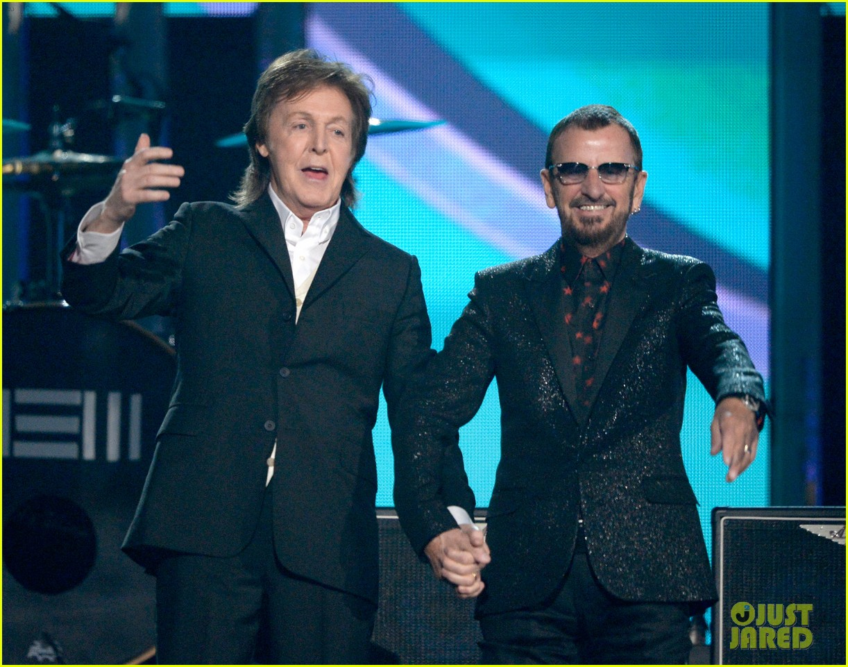 paul mccartney ringo starr reunite at grammys 2014 video 01
