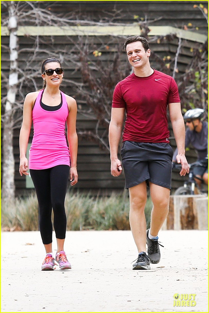 lea michele stretches with jonathan groff during hike 013039708