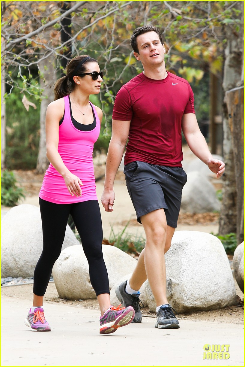 lea michele stretches with jonathan groff during hike 03