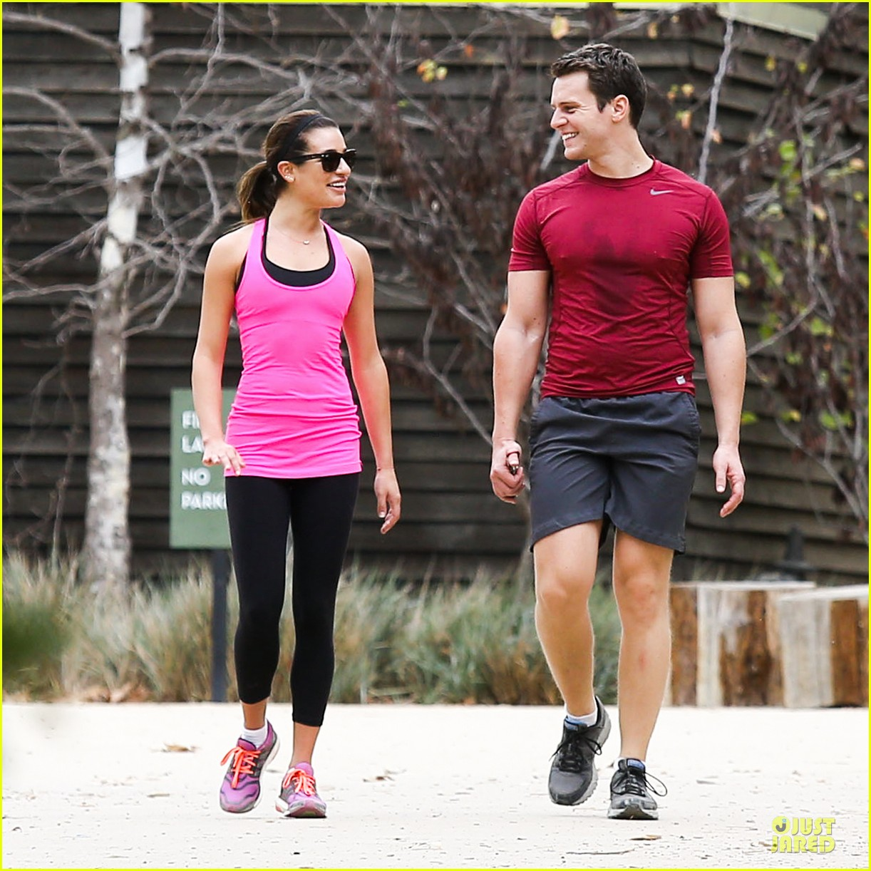 lea michele stretches with jonathan groff during hike 08