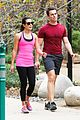 lea michele stretches with jonathan groff during hike 13