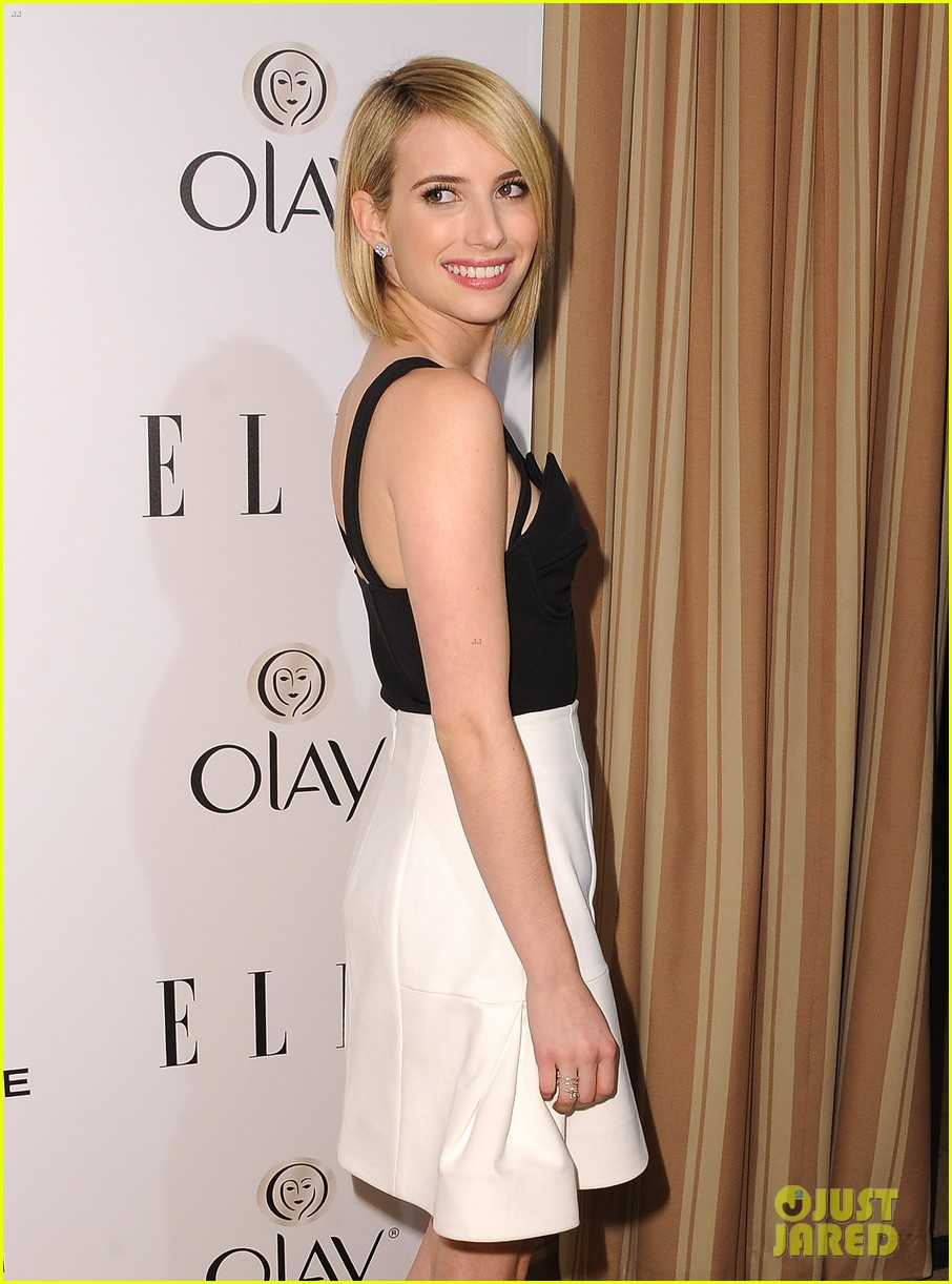 emma roberts debuts new haircut at elles women in tv celebration 2014 01