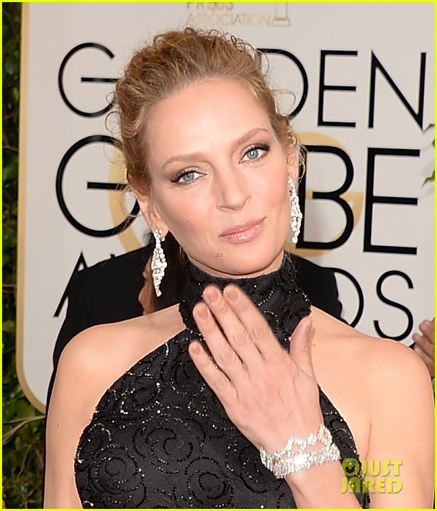uma thurman chris evans golden globes 2014 presenters 173029812
