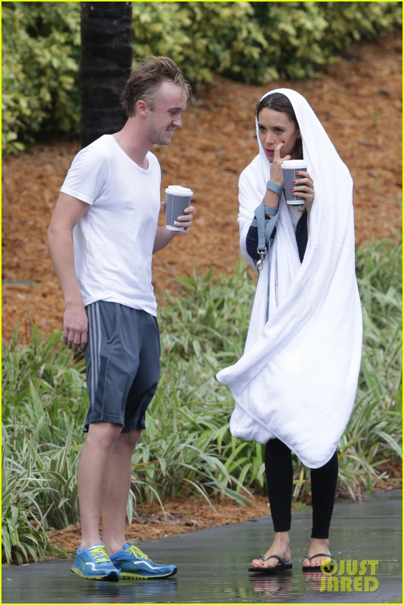 tom felton jade olivia rainy day dog walk 10