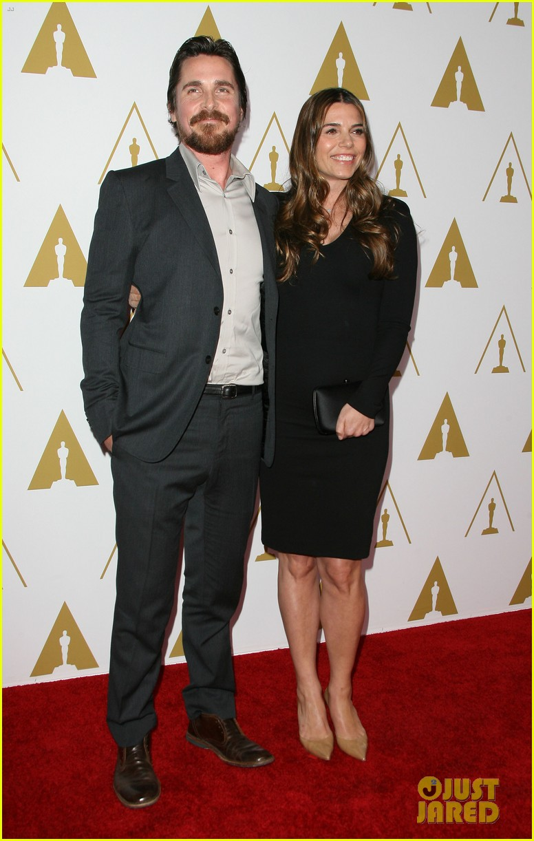 christian bale oscars nominees luncheon with wife sibi blazic 01