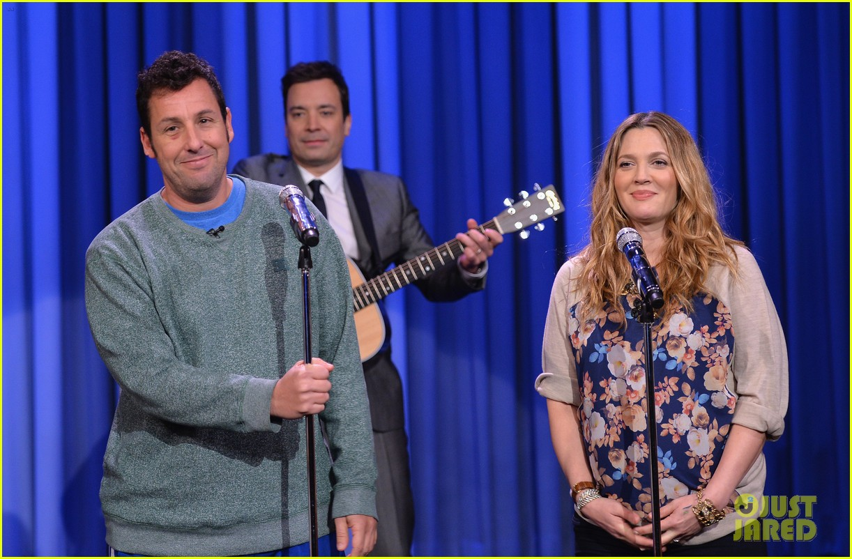 adam sandler sings to pregnant drew barrymore on fallon 12