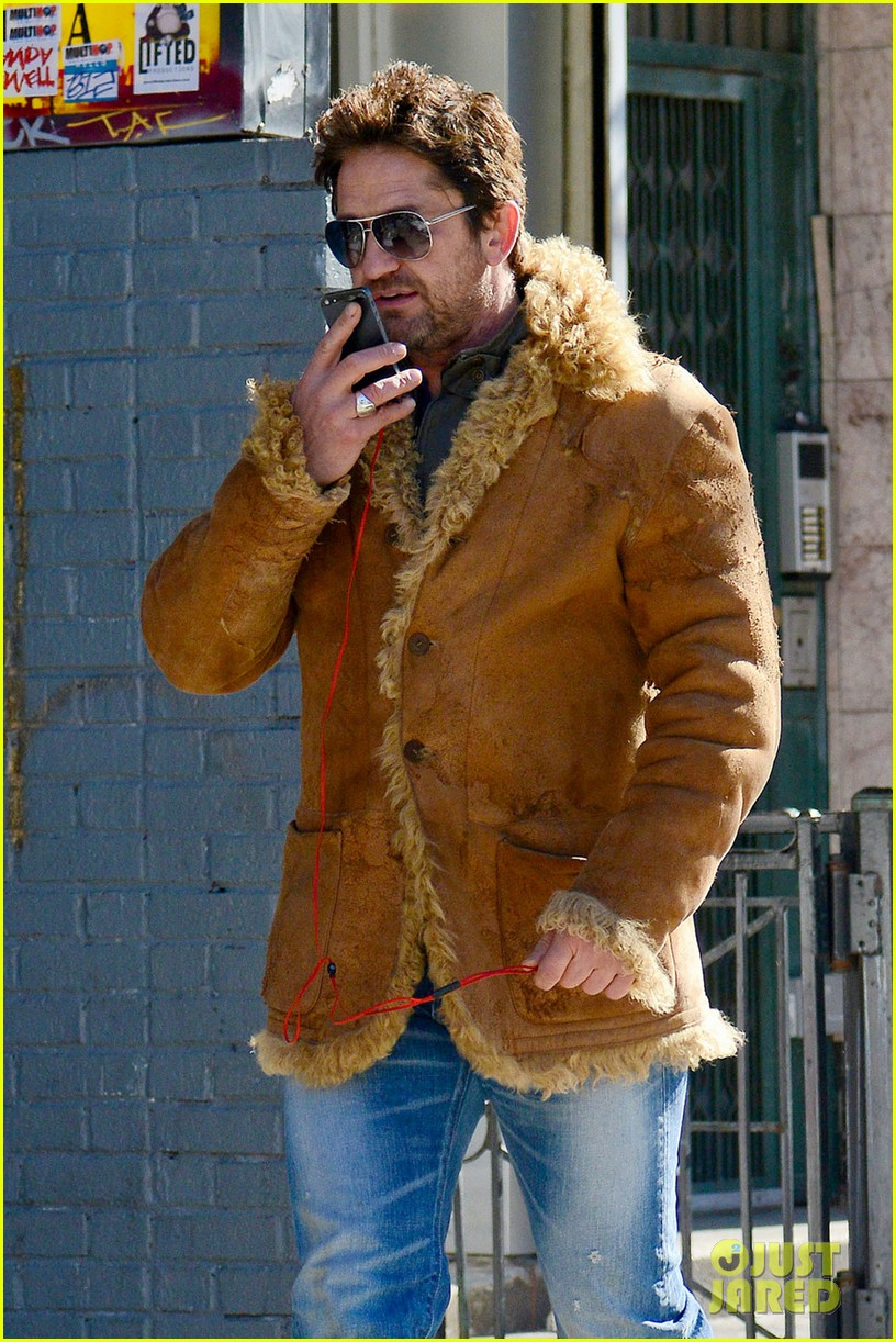 gerard butler keeps warm in furry brown coat 063055150