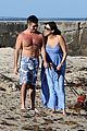 shirtless simon cowell and lauren silverman post baby beachside stroll 13