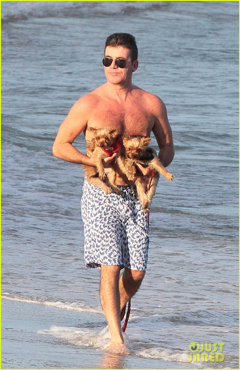 shirtless simon cowell tends to his cute pups on miami vacation 033059470