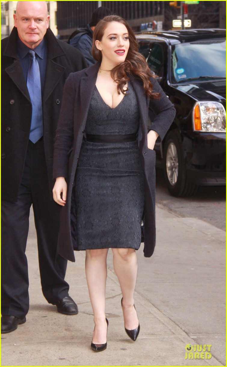 kat dennings bares cleavage for 2 broke girls promo tour 13