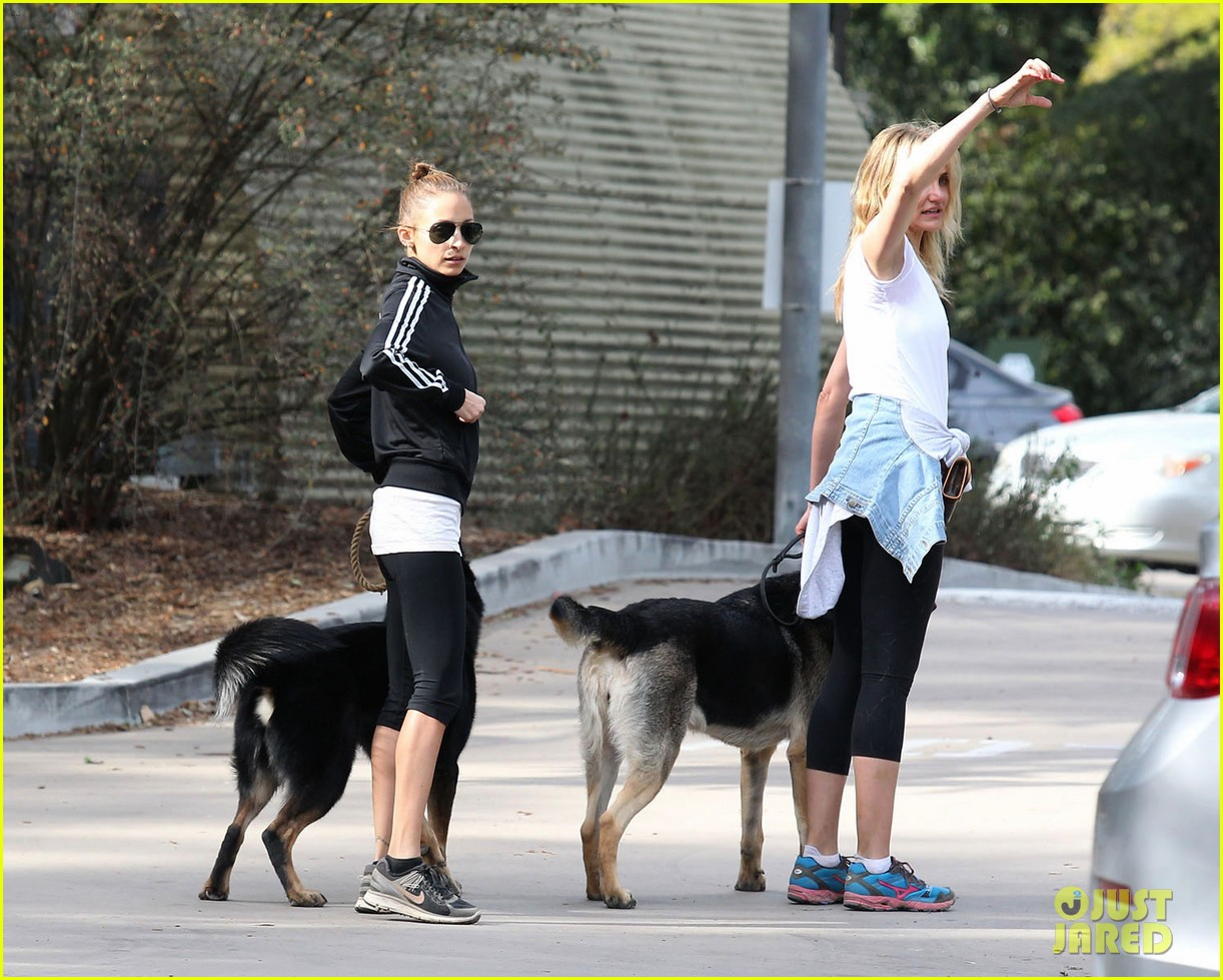 cameron diaz nicole richie walk their dogs together 013059689