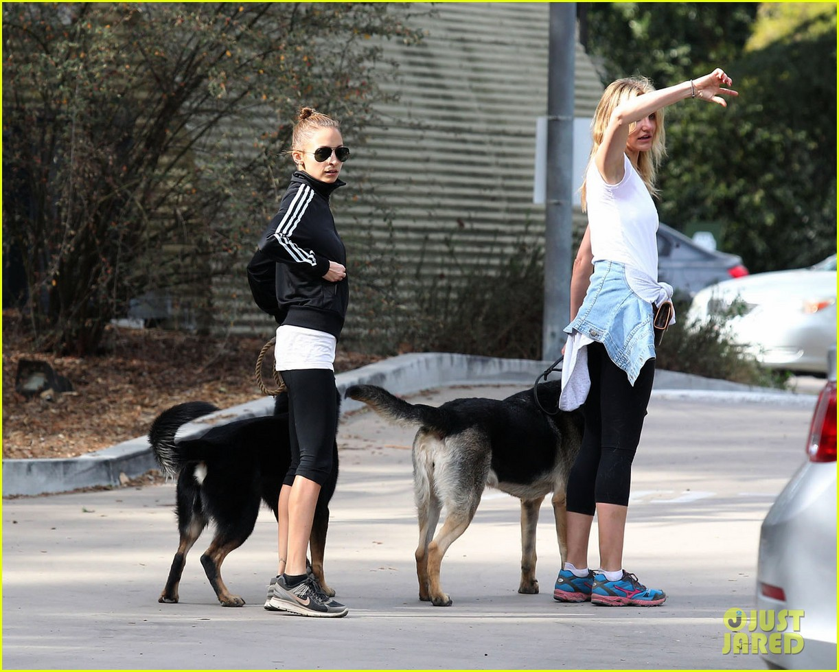 cameron diaz nicole richie walk their dogs together 06