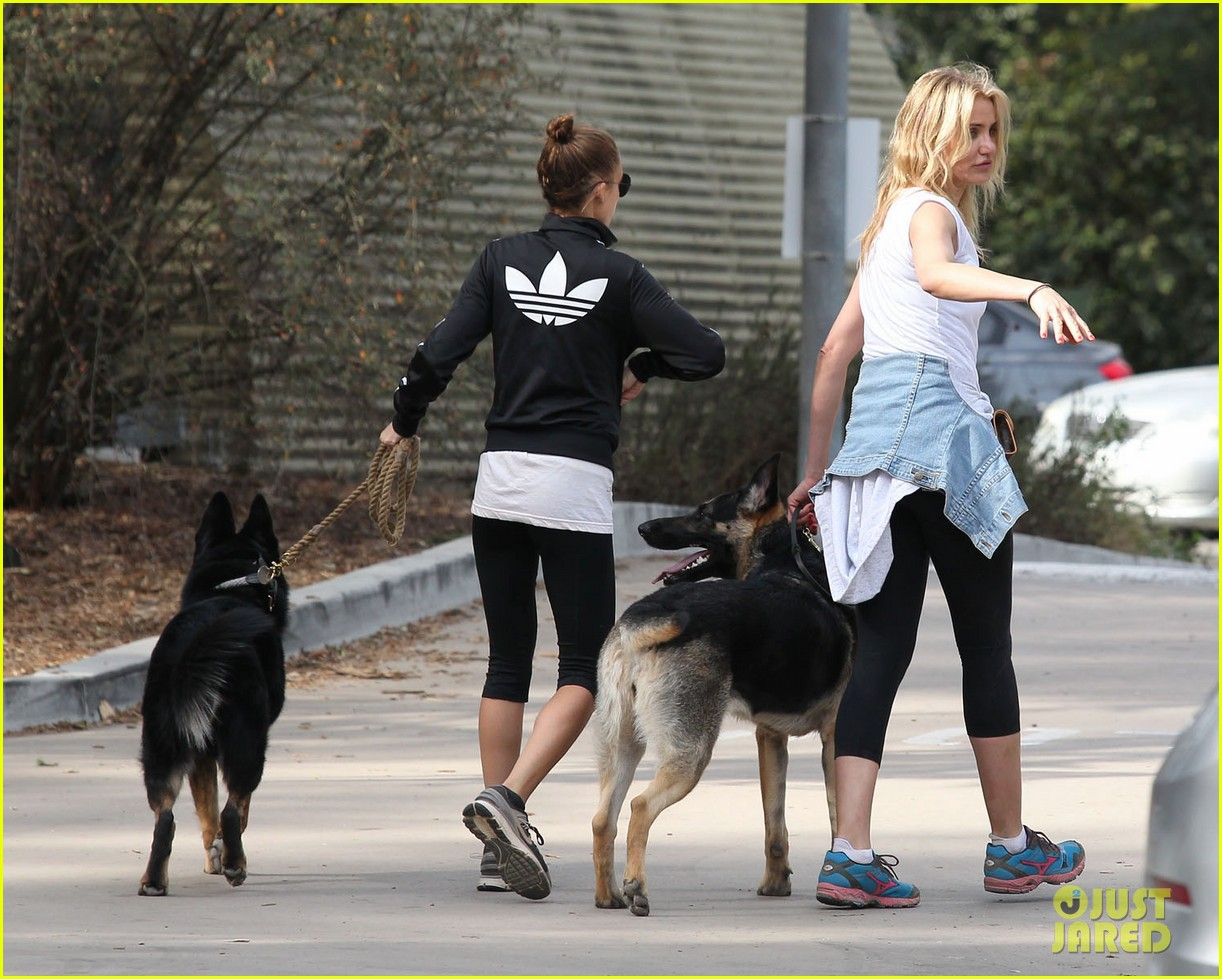 cameron diaz nicole richie walk their dogs together 11