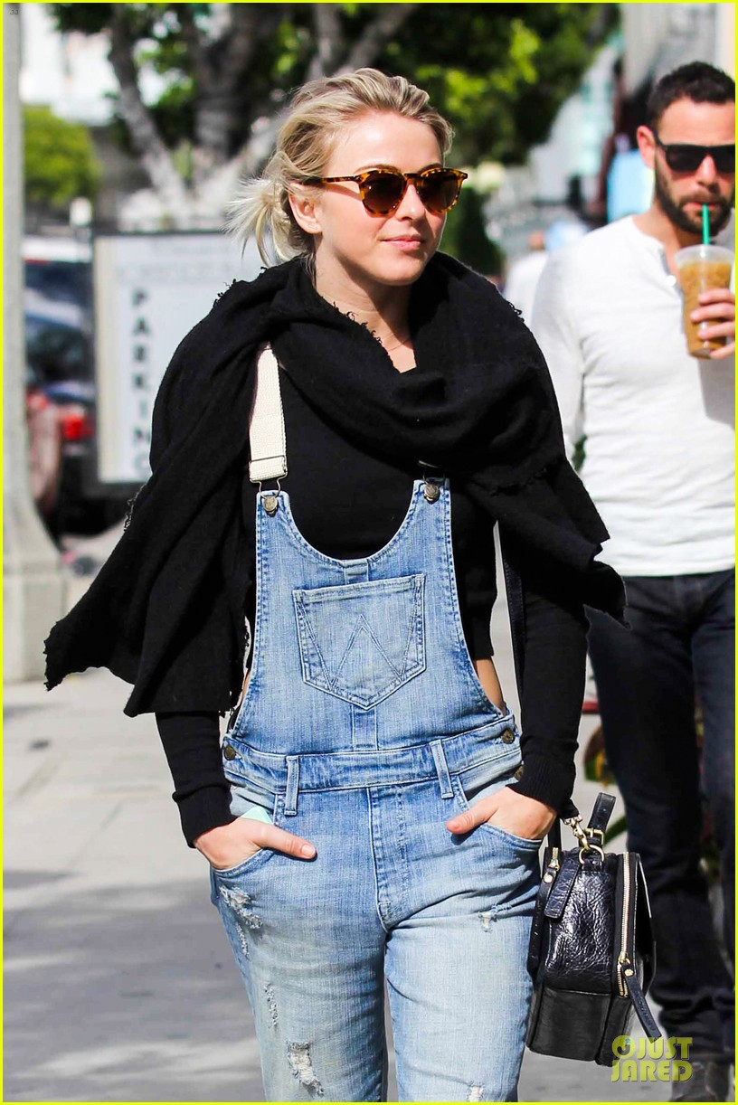 julianne hough sports denim overalls for newsroom brunch 083046699