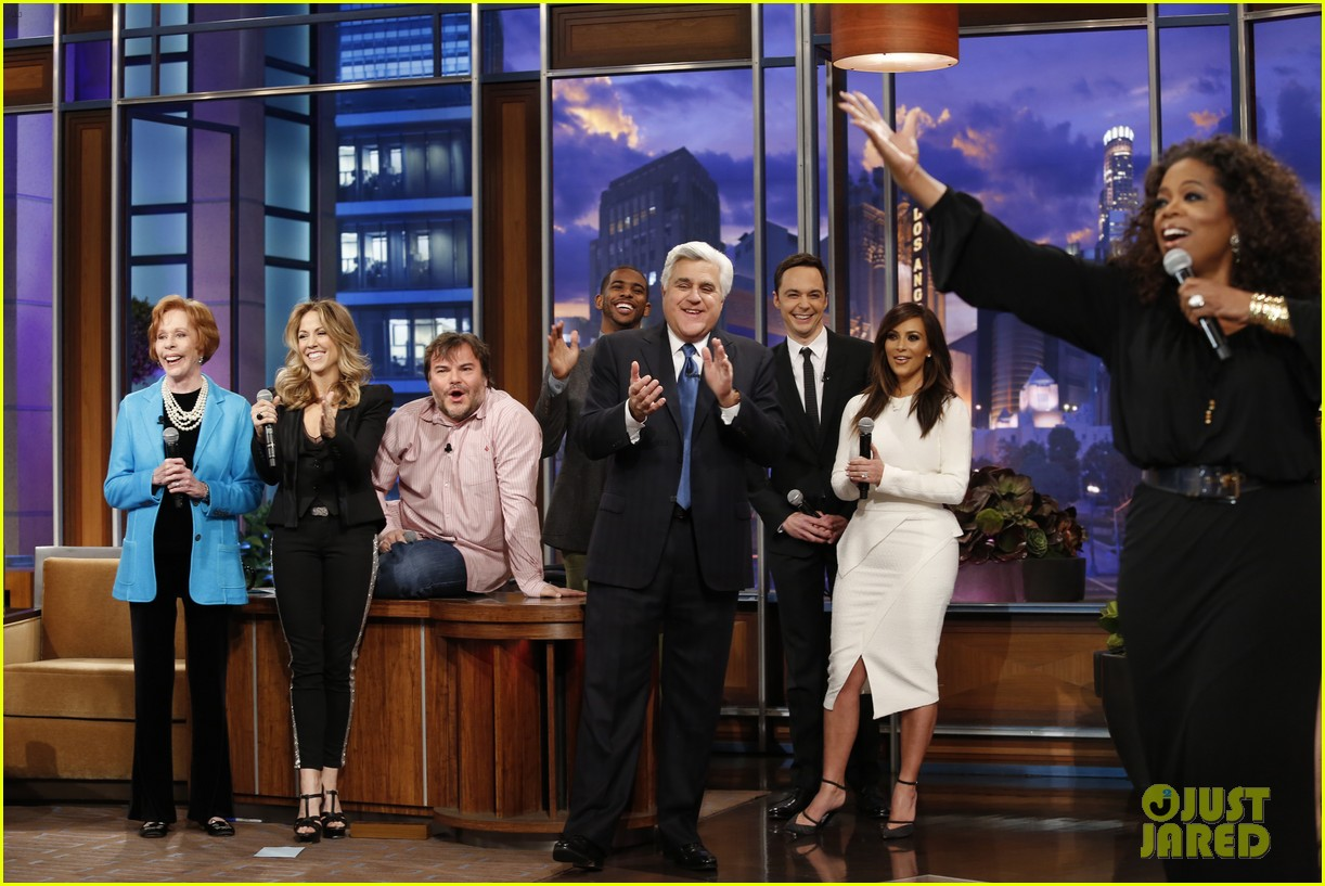 kim kardashian oprah sing for jay leno at his final show 153048866