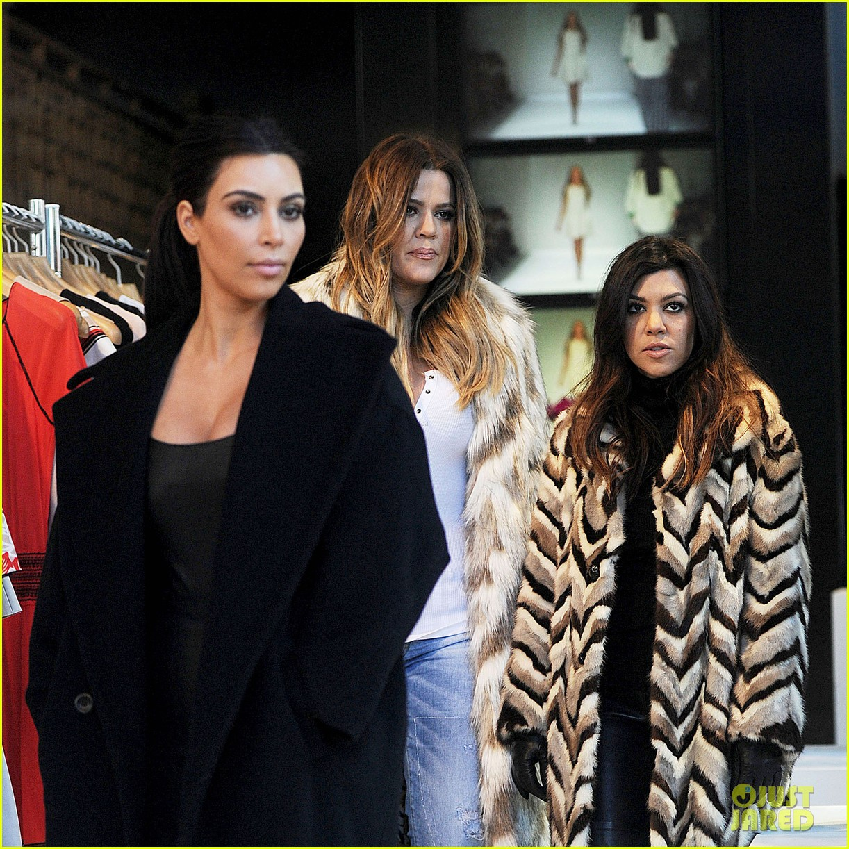 kim kardashian films kuwtk with her sisters khloe sends message on coat fxck yo fur 03