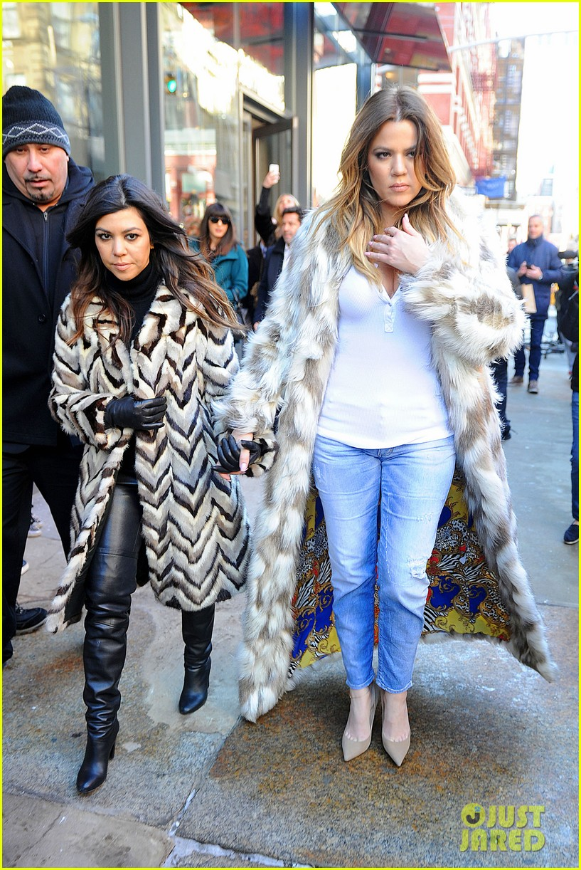 kim kardashian films kuwtk with her sisters khloe sends message on coat fxck yo fur 09
