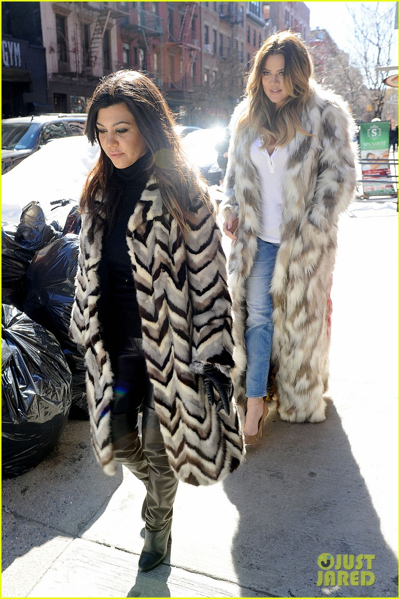 kim kardashian films kuwtk with her sisters khloe sends message on coat fxck yo fur 20