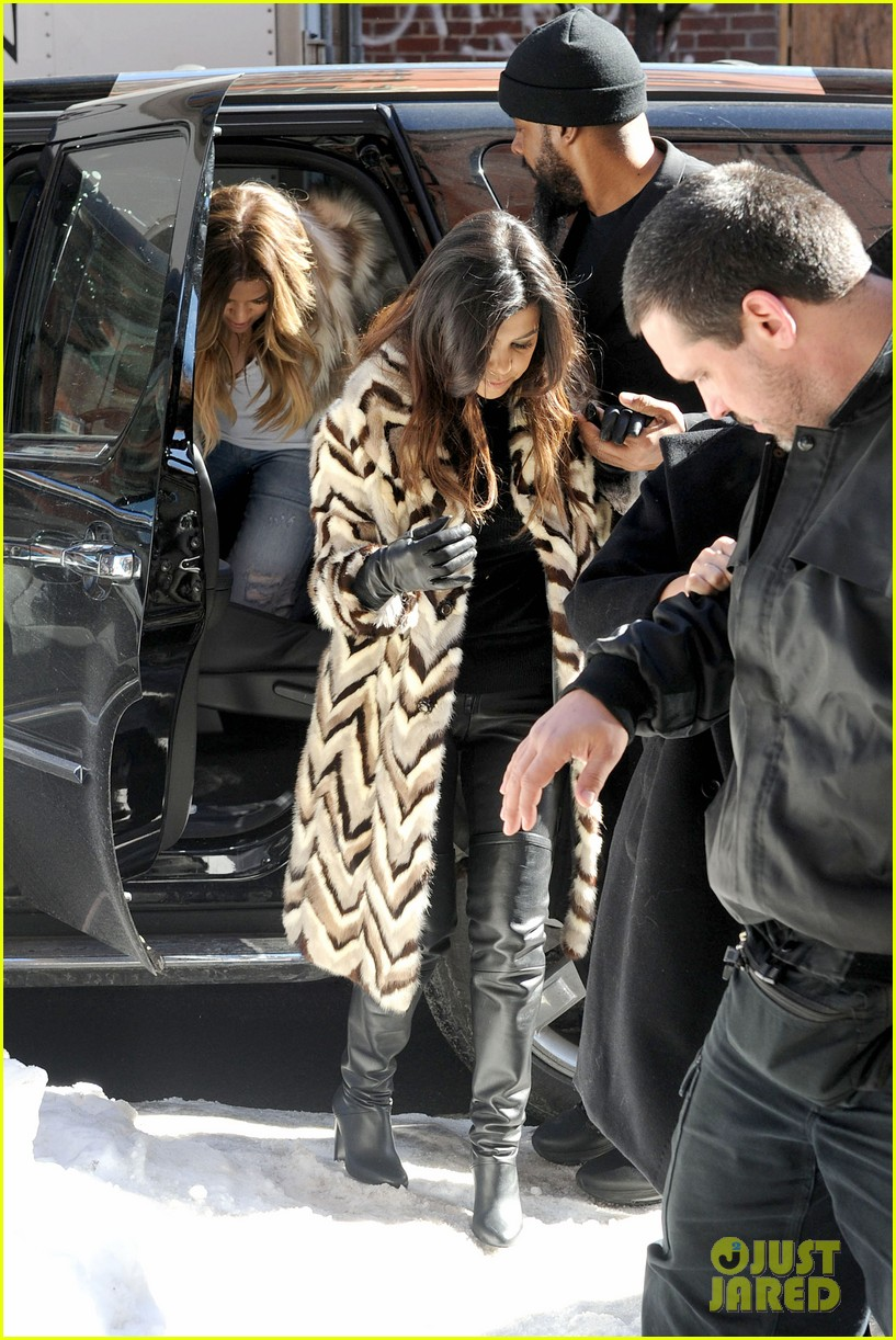 kim kardashian films kuwtk with her sisters khloe sends message on coat fxck yo fur 26