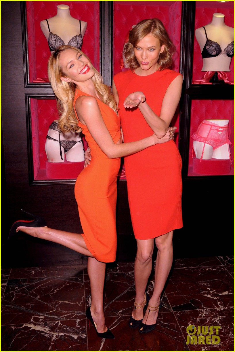 karlie kloss candice swanepoel celebrate victorias secret bombshell day 01