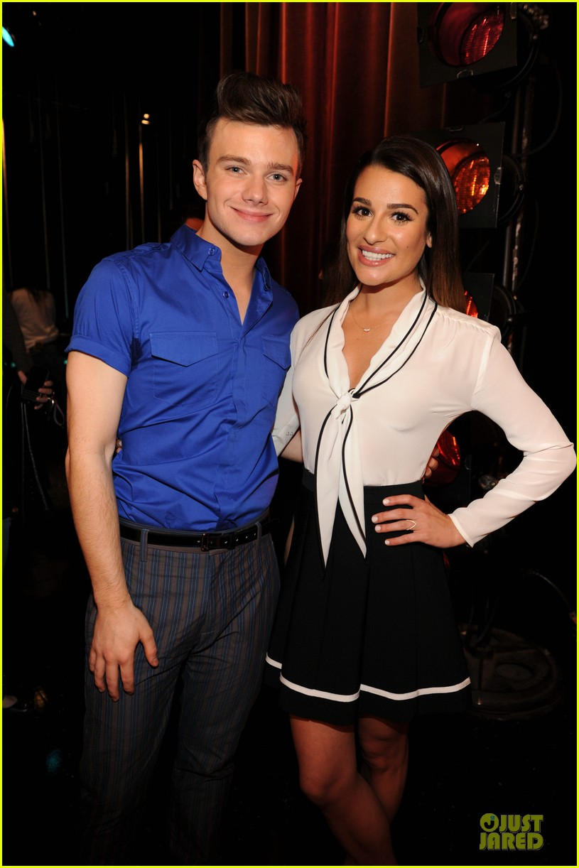 lea michele chris colfer glee 100th episode celebration 01