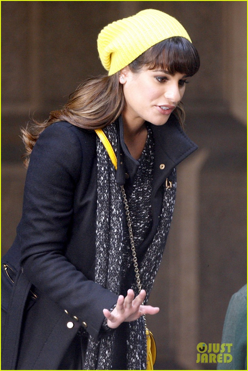 lea michele films glee new york scenes with kevin mchale 12