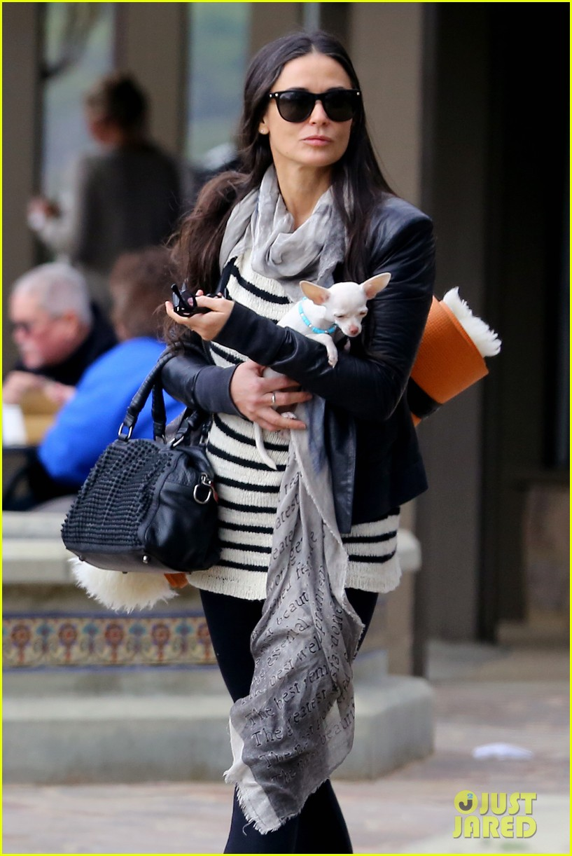 demi moore takes her tiny dog to yoga class 10