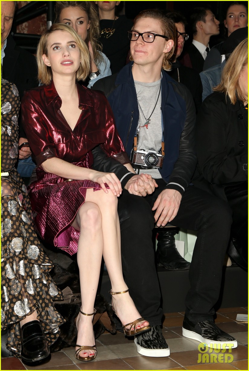 emma roberts evan peters skip oscars madness for paris fashion week fun 02