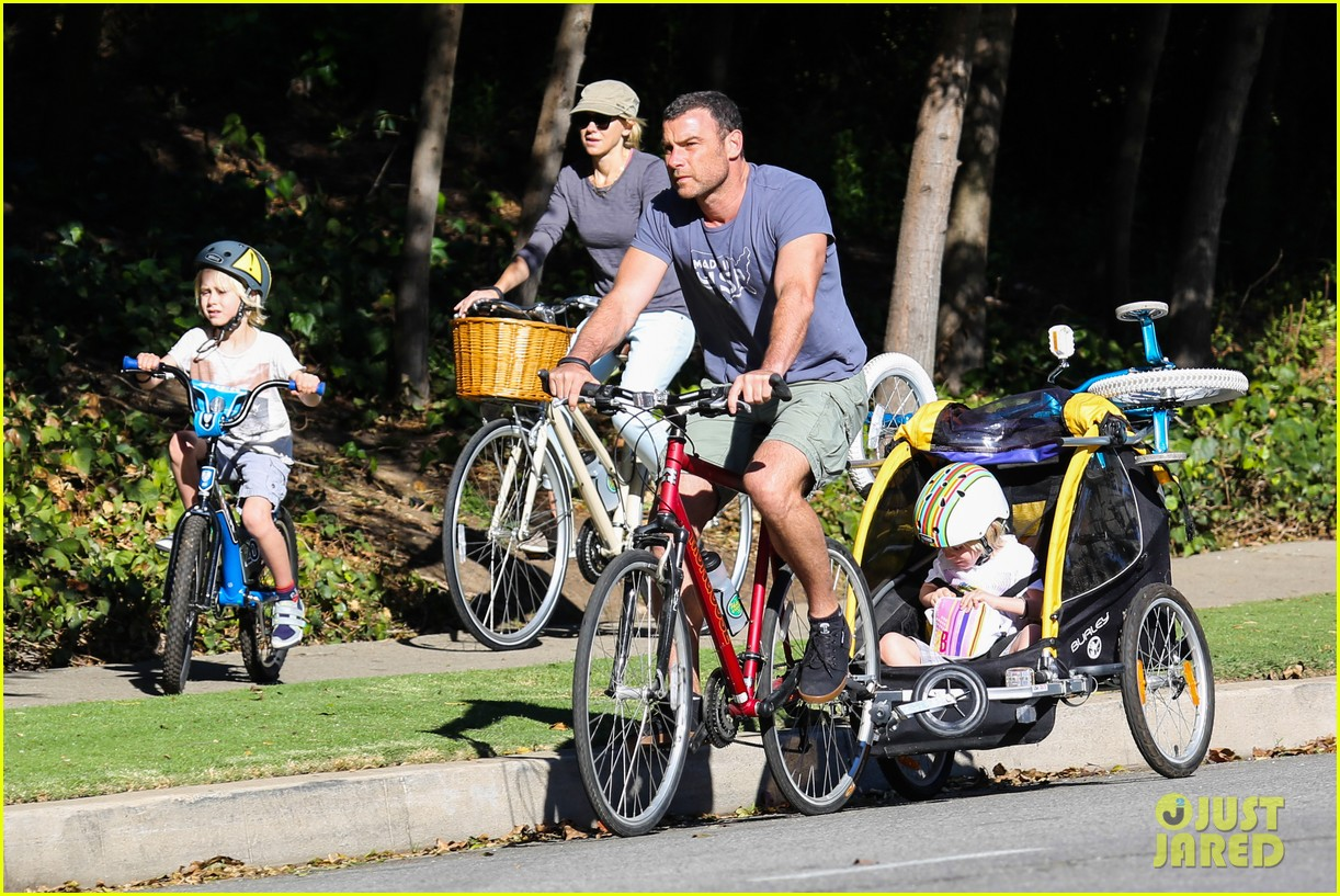 liev schreiber bares hot shirtless bod for family bike ride 03