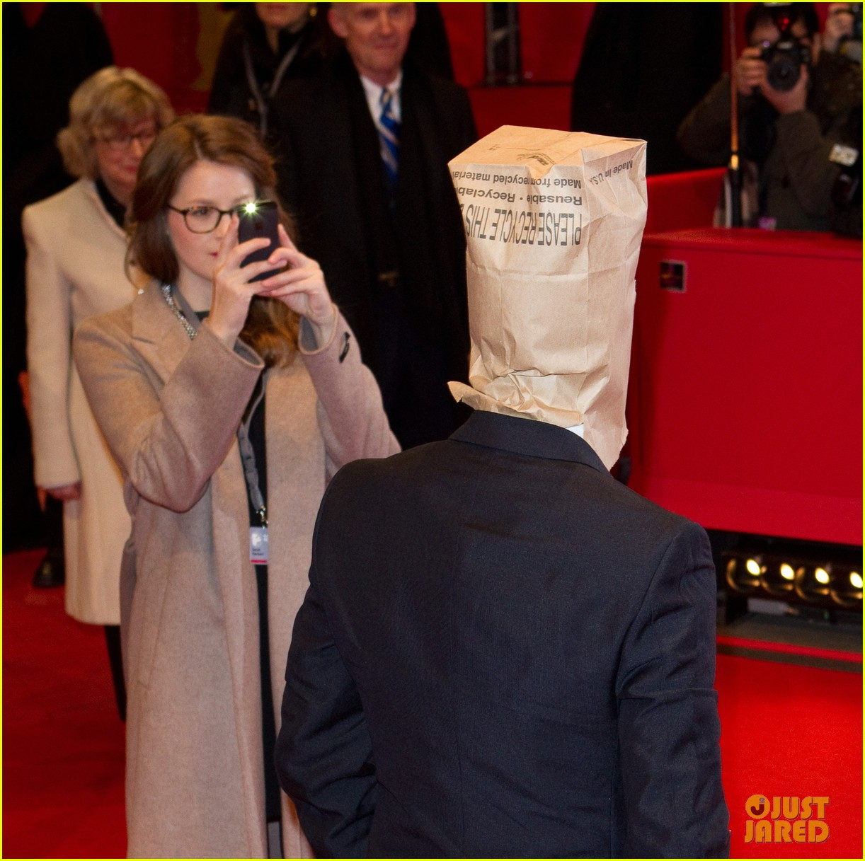 shia labeouf wears paper bag over his head for nymphomaniac berlin premiere 05