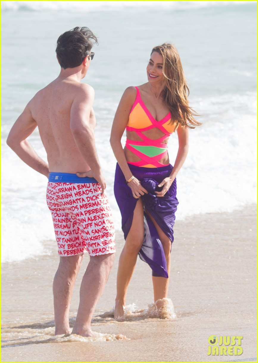 sofia vergara rocks multi colored monokini for modern family filming 233058055