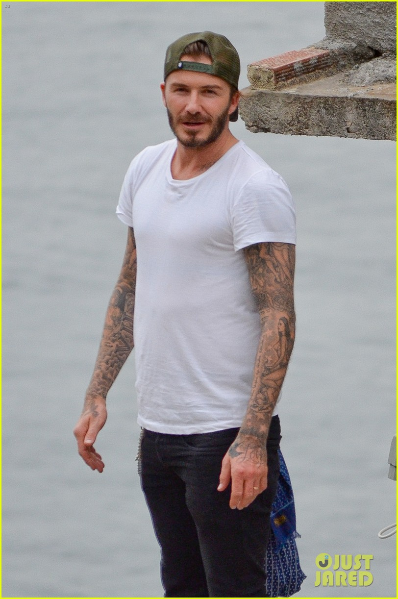 david beckham goes shirtless on his balcony in rio 07