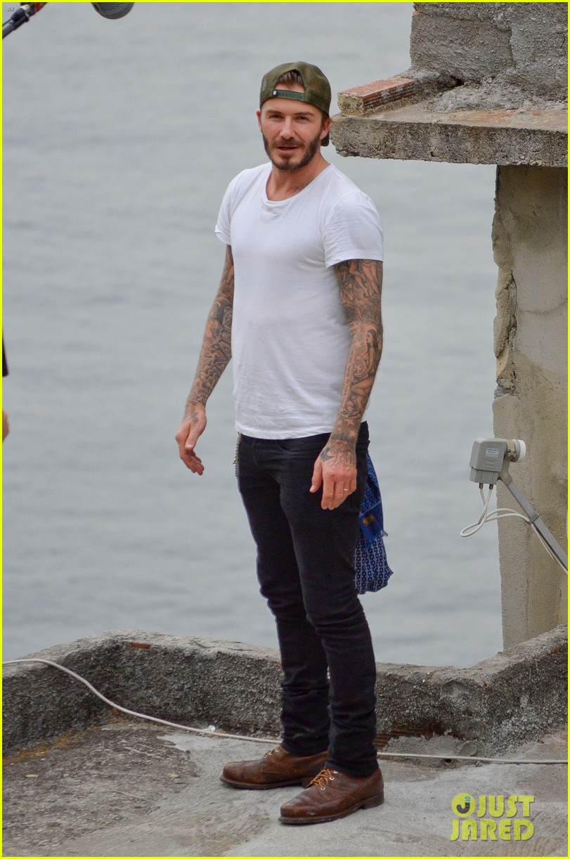 david beckham goes shirtless on his balcony in rio 08