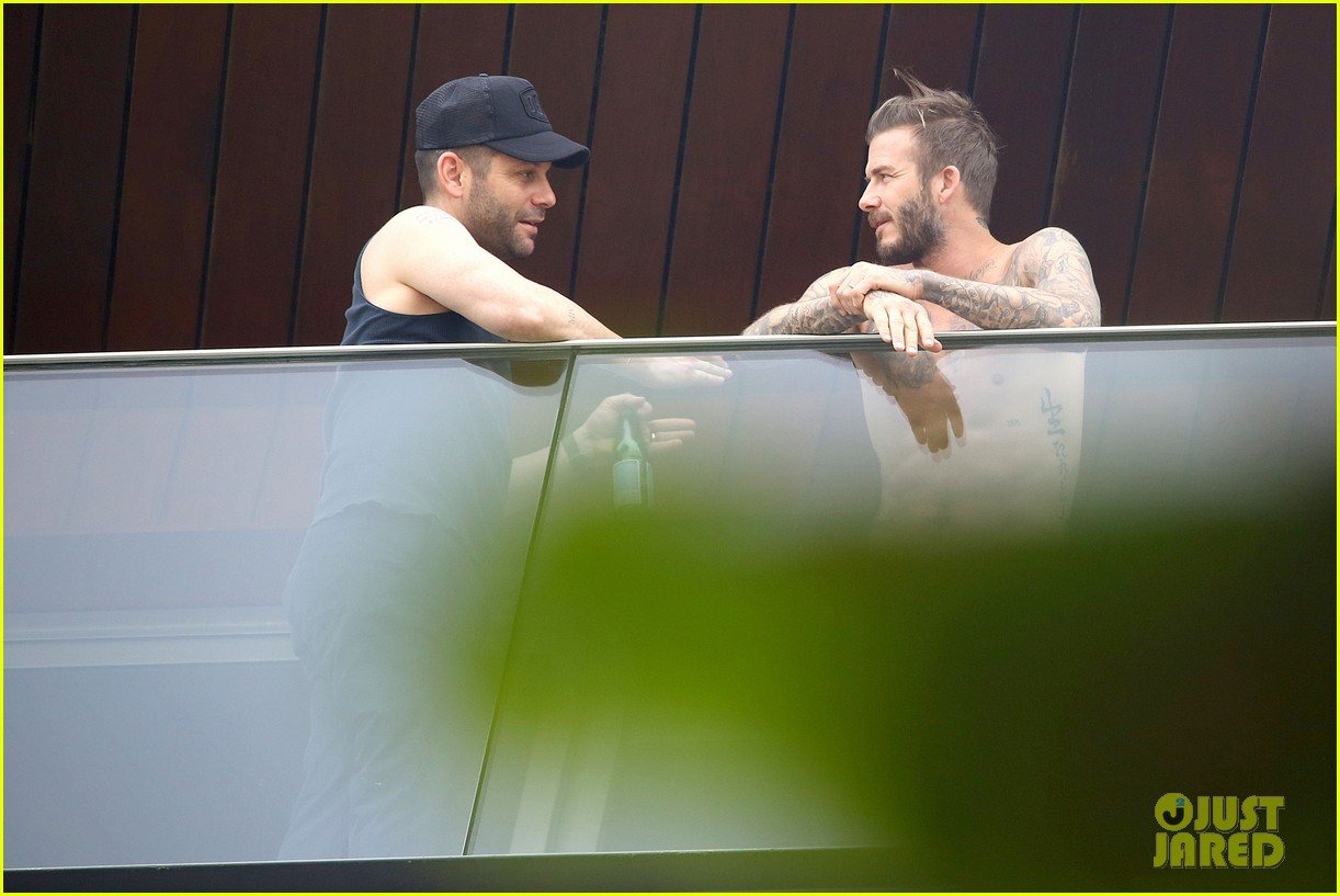 david beckham goes shirtless on his balcony in rio 20