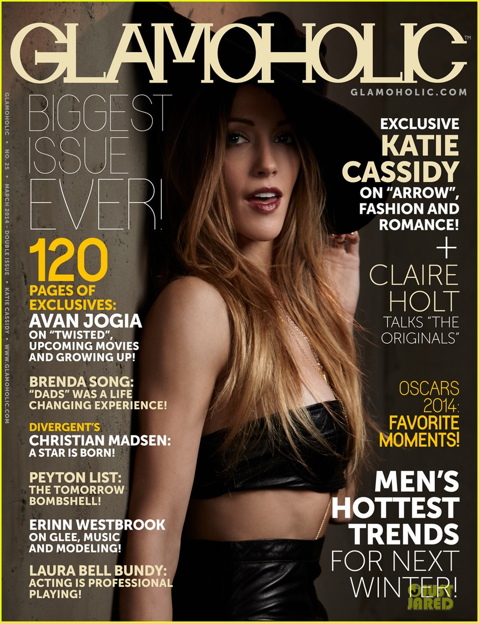 katie cassidy bares midriff for glamoholic cover 10