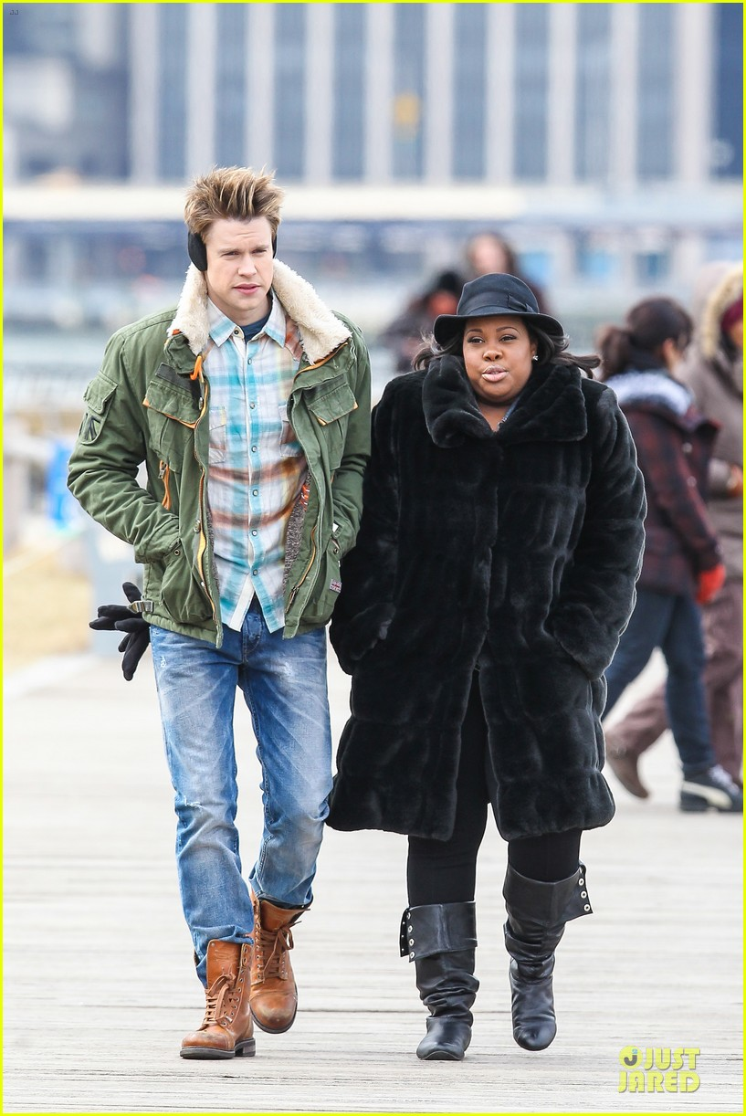 chord overstreet give amber riley jacket to stay warm 013074516