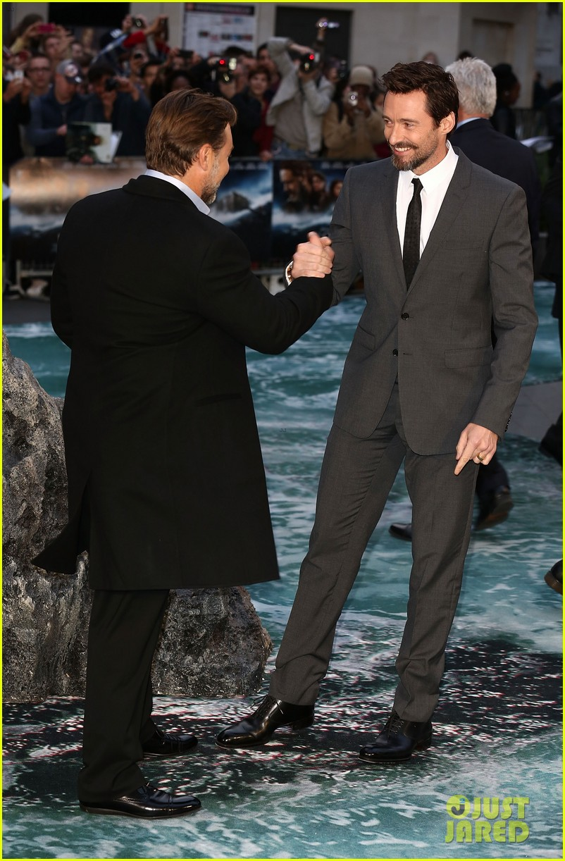 hugh jackman supports russell crowe noah uk premiere 11