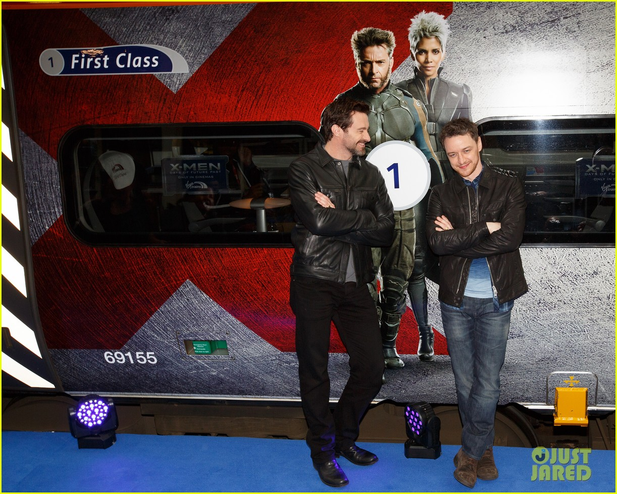 hugh jackman james mcavoy embrace bromance at x men days of future past train unveiling 093082113