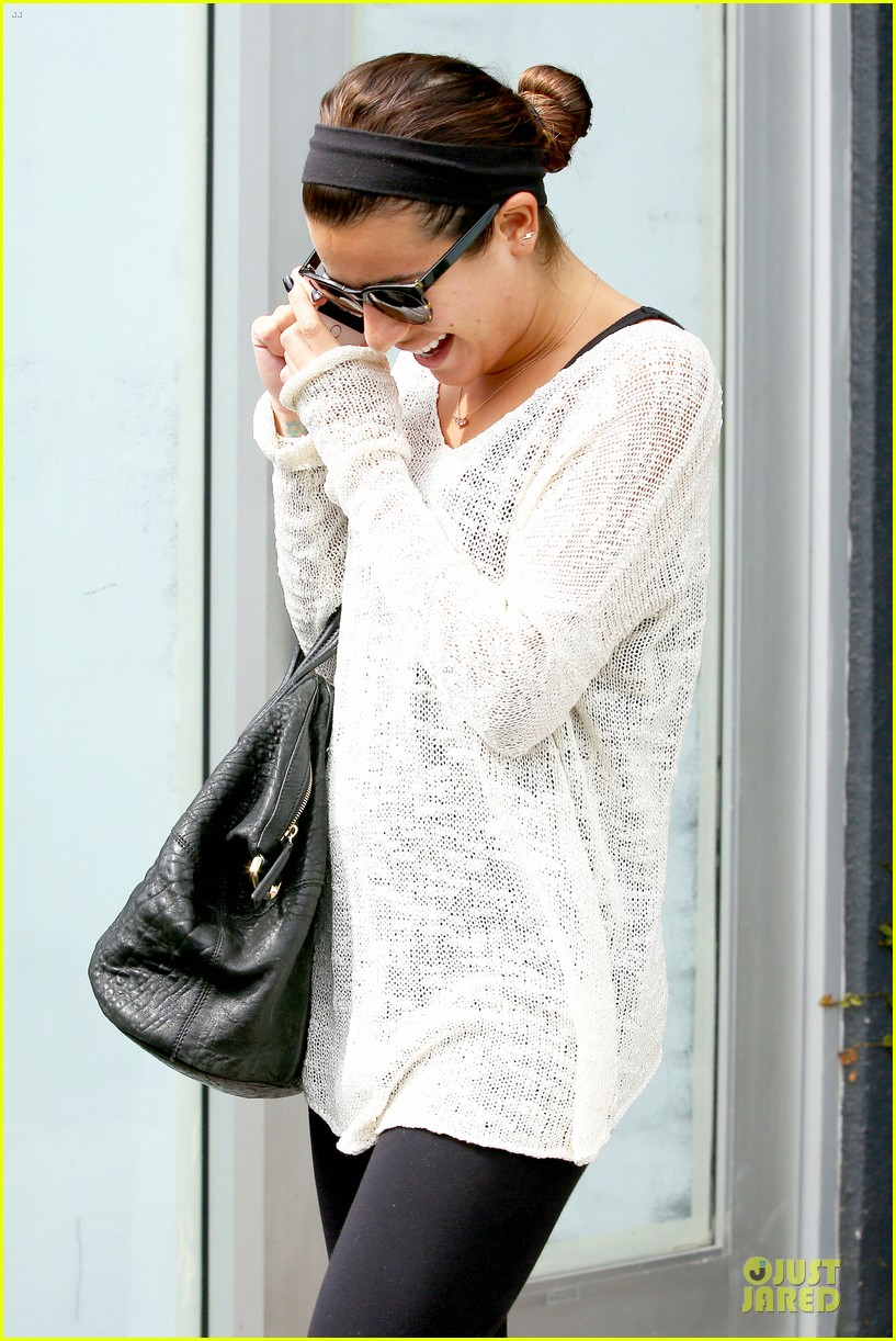 lea michele rocks black nails before meeting fans in la 093068162