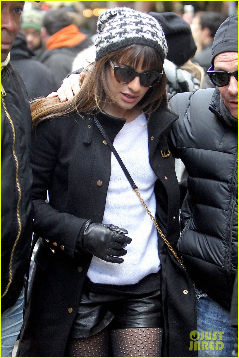 lea michele switches outfits around glee nyc 08